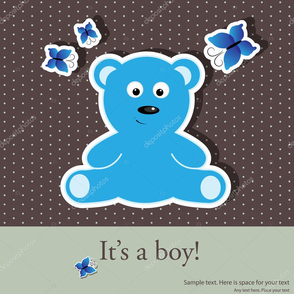 Vector greeting card for baby boy shower — Stok Vektör #5679770