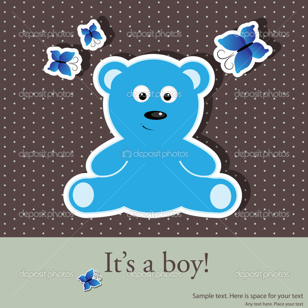Vector greeting card for baby boy shower — ベクター素材ストック #5679770