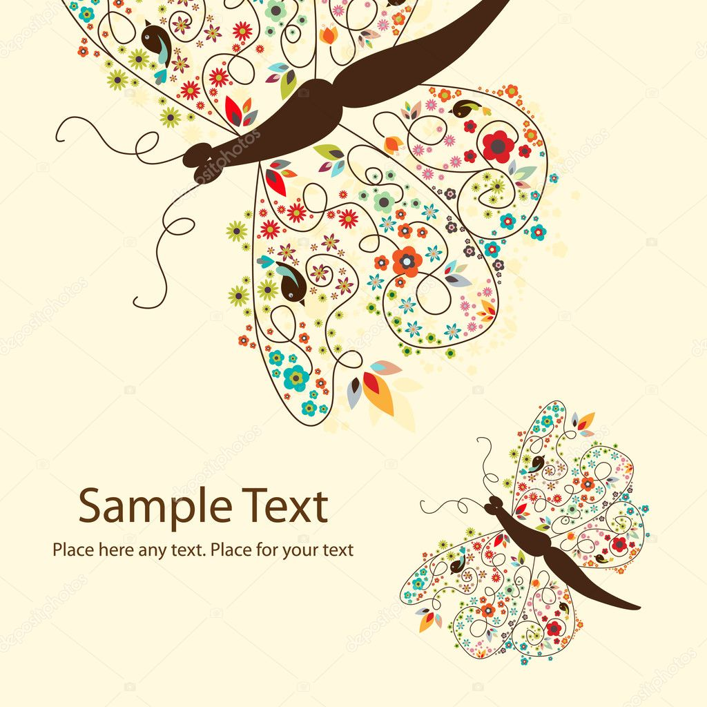 Vector picture of 2 cute butterflies with small flowers — Vettoriali Stock  #5963408