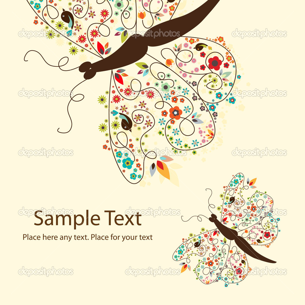 Vector picture of 2 cute butterflies with small flowers — Векторная иллюстрация #5963408