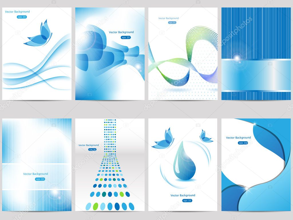 Vector blue brochure design set — Stock Vector #6546968