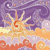 Achtergrond met zon en sterren — Stockvector