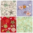 Set of cute floral background — Imagen vectorial