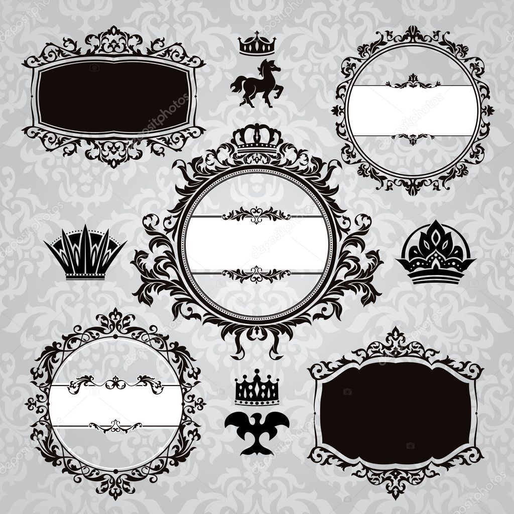 Set of royal frames and vintage design elements — Stock Vector #6275986