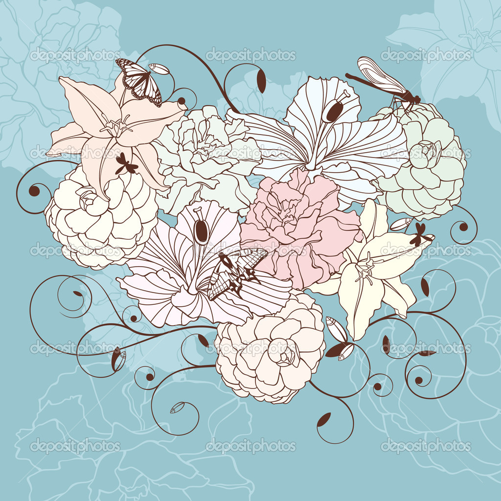 Abstract romantic lovely floral heart vector illustration — ベクター素材ストック #6735095