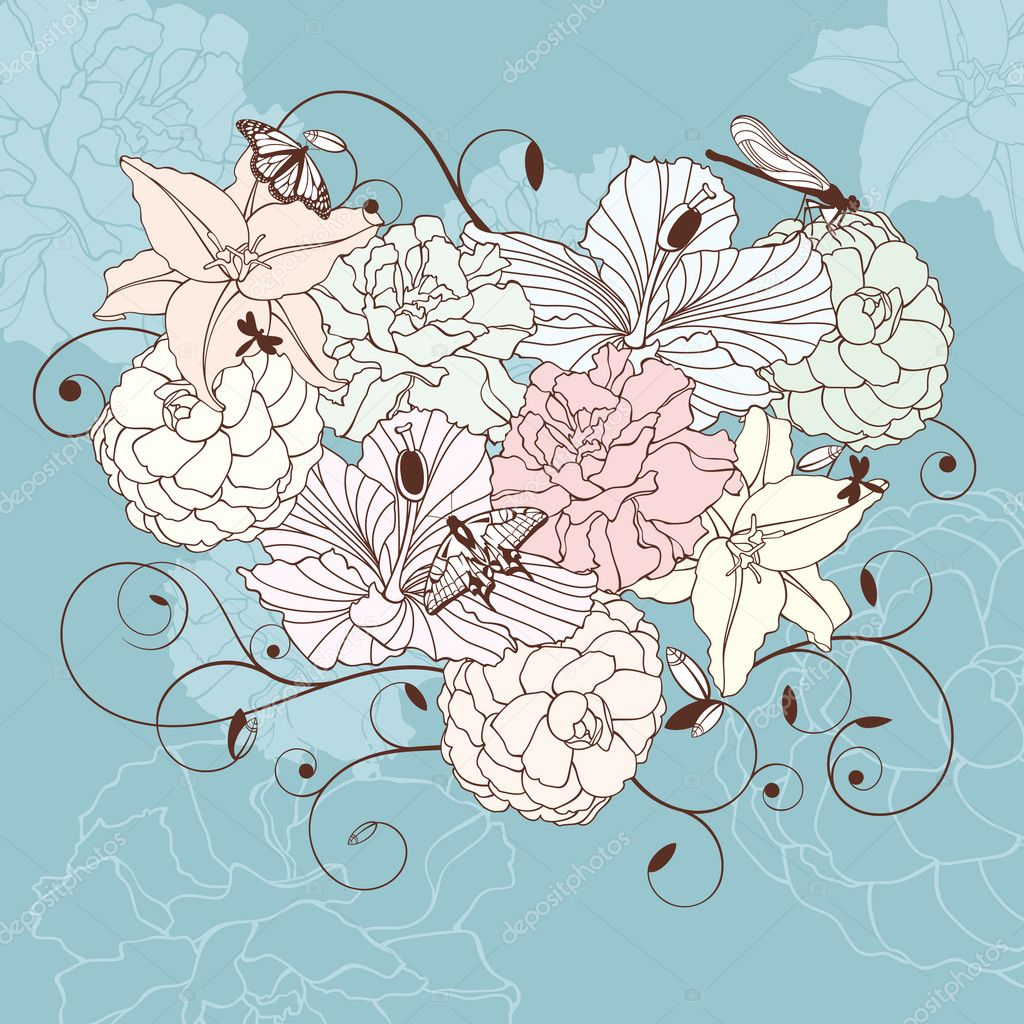 Abstract romantic lovely floral heart vector illustration — Векторная иллюстрация #6735095