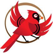 Red cardinal bird — Stock Vector
