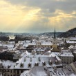 Prague with dramatic sunset. Winter. — Stock Photo