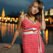 Girl against night Moscow — Stock Photo #6055862