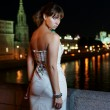 The girl against night Moscow — Stock Photo