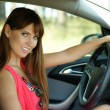 Stock Photo: The girl at the wheel the car