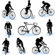 Stock Vector: Bicycling silhouettes