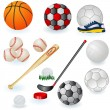 Stock Vector: Sport equipment icons 1