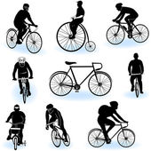 Bicycling silhouettes — Stock Vector