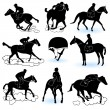 Stock Vector: Jockey silhouettes