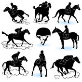 Jockey silhouettes — Stock Vector
