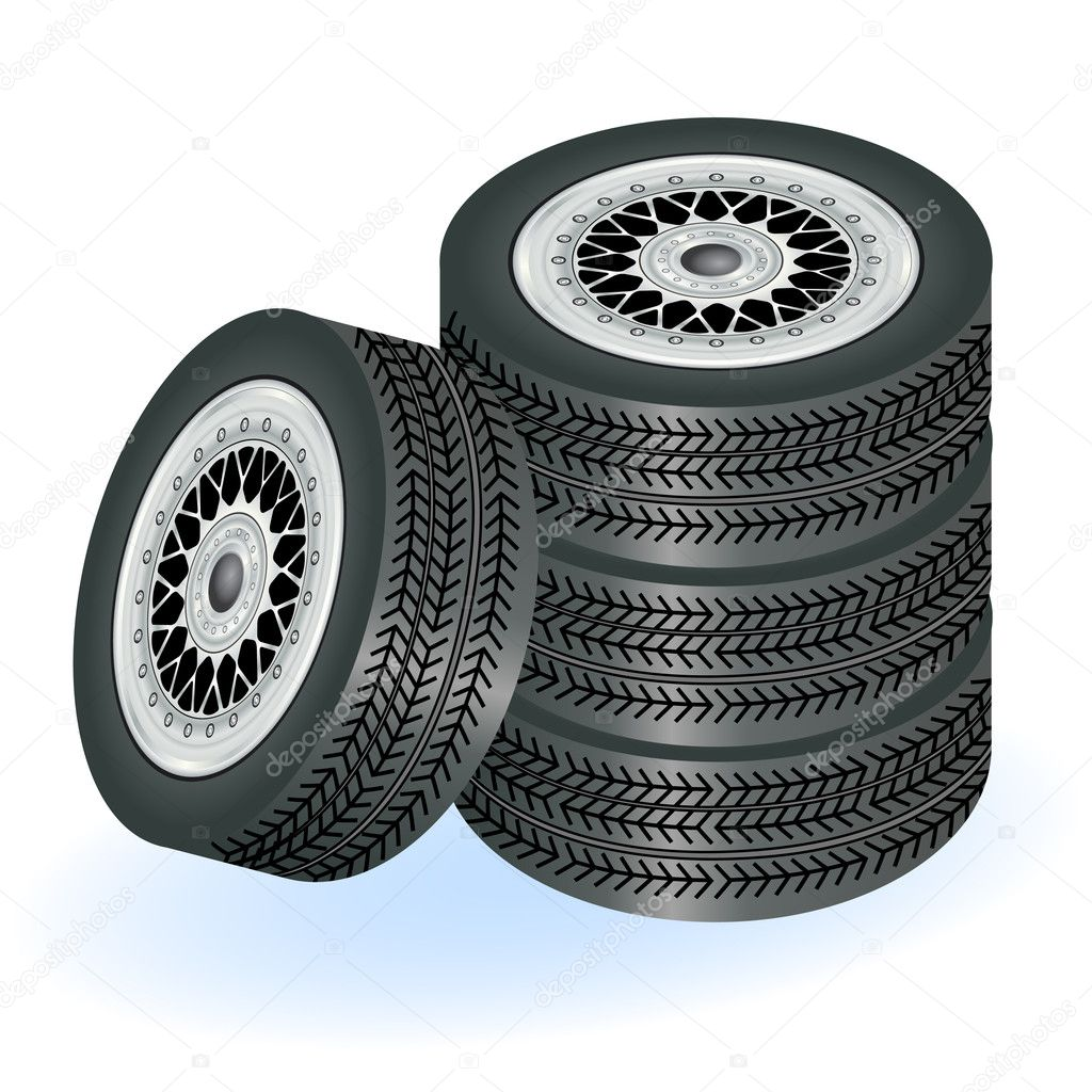 Illustration of four realistic tires isolated on white background. — Stock Vector #5900885