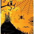 Vector Halloween background with bats spiders and owls — Stock Vector