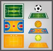 Sport fields and sport balls — Stock Vector