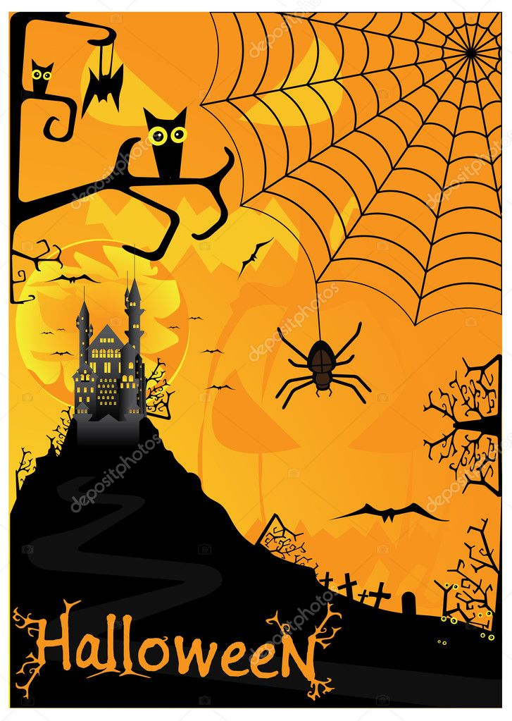 Vector Halloween background with bats spiders and owls  — Stock Vector #6611749