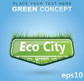 Sinal verde eco - banner — Vetor de Stock