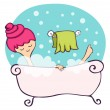 In the bathtub — Stock Vector