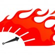Speedometer on fire — Stock Vector