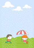 Cute kids in the rain — Stock Vector