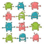 Cute monster set — Stock Vector