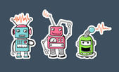 Cute robots sticker — Stock Vector