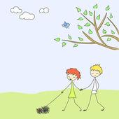 Spring scene doodle — Stock Vector