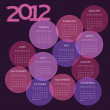 2012 calendar, week starts on Sunday — Vector de stock