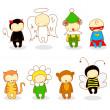 schattige kinderen in kostuum — Stockvector