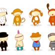 Cute kids in costume - Image vectorielle