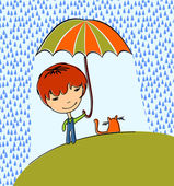 Boy with cat in the rain — Stock Vector