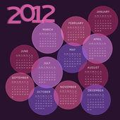 2012 calendar, week starts on Sunday — Stock Vector