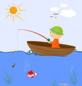 Cartoon fisherman in a boat — Stock Vector