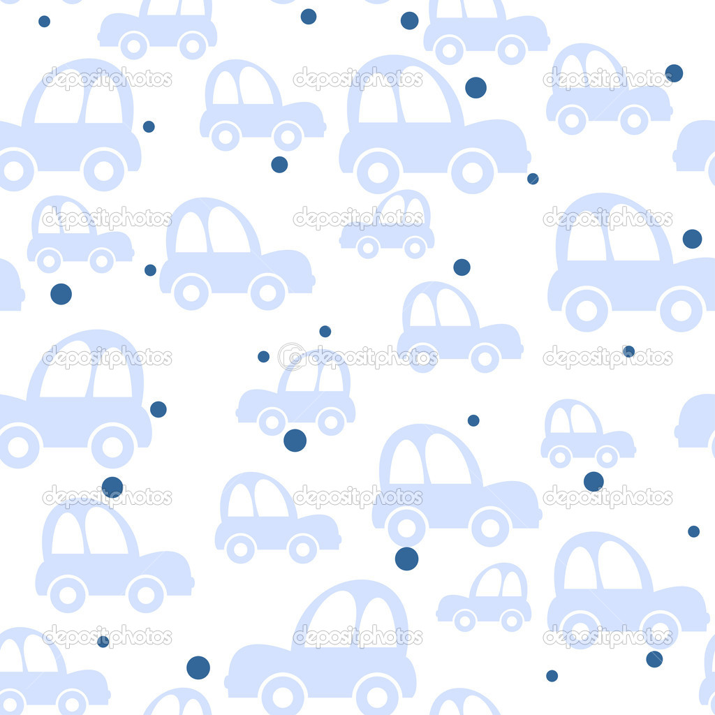 Seamless toy car background for baby boys — Stock Vector #6630158
