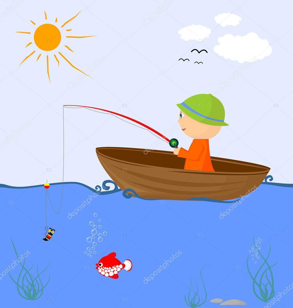 нарисованная лодка с рыбаком