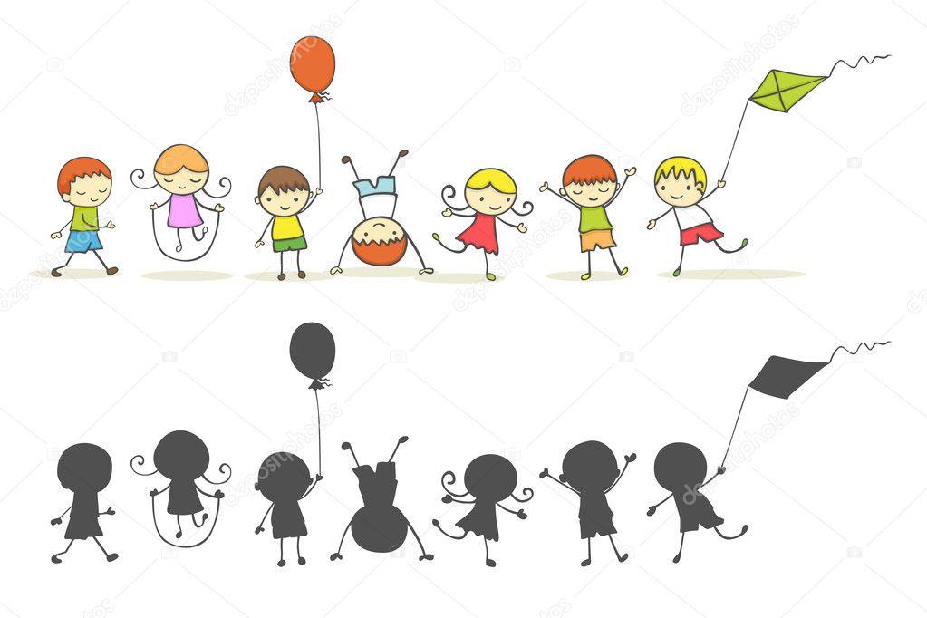 可爱卡通小孩子在玩耍 — 矢量图片作者 zsooofija