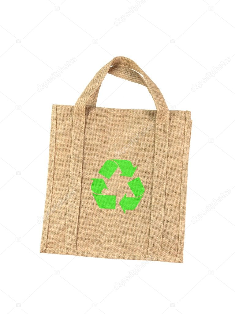 A recycle shopping bagisolated against a white background  Stock Photo #5711752