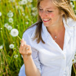Caucasian woman in spring field — Stock Photo