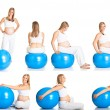 Royalty-Free Stock Photo: Pregnant woman fitness  collage isolated on white