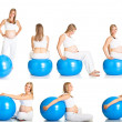 Stock Photo: Pregnant woman fitness collage isolated on white