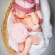 Stock Photo: Portrait of a newborn caucasian girl