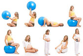 Pregnant woman fitness collage isolated on white — 图库照片