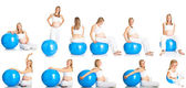 Pregnant woman fitness collage isolated on white — Stock Photo