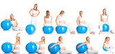 Беременная женщина фитнес коллаж, изолированные на белом фоне — Стоковое фото