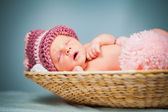 Portrait of a newborn caucasian girl — Stock Photo