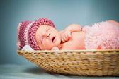 Portrait of a newborn caucasian girl — Stock Photo